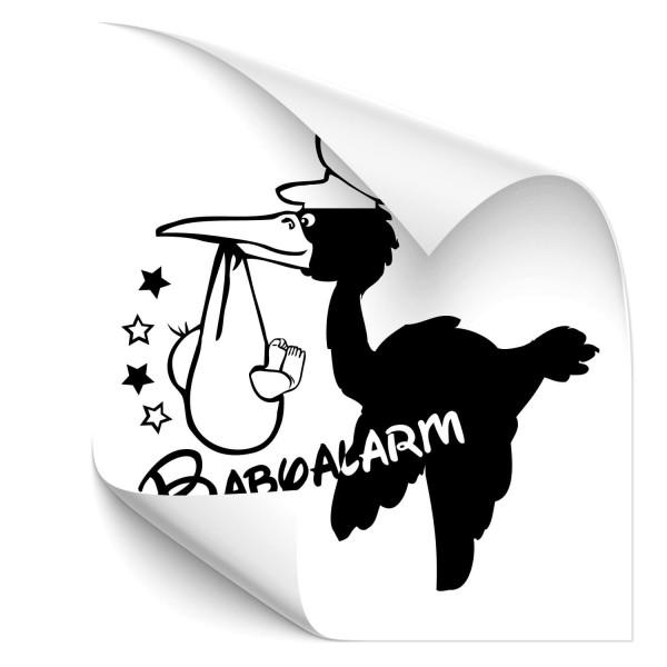 Babyalarm ! Storch mit Baby Autoheckaufkleber - Kategorie Shop