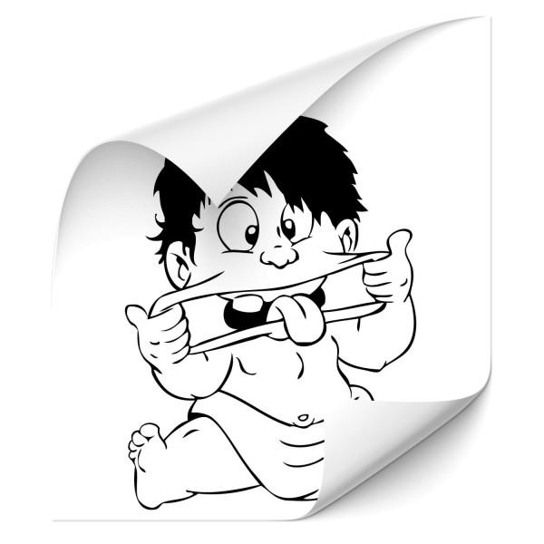 Kinder mit rausgestreckter Zunge Kfz Aufkleber - wandtattoo