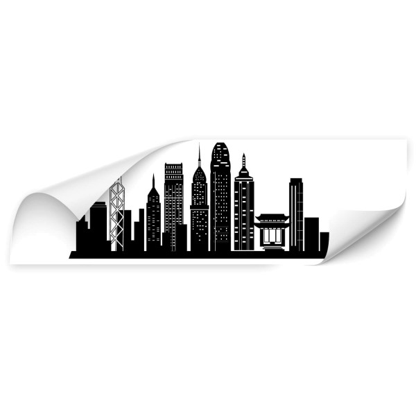 Hongkong Skyline Autotattoo - wandtattoo