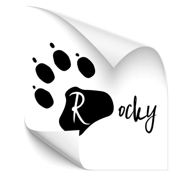 Hundepfote mit Wunschname Car Tattoo - Beschriftung