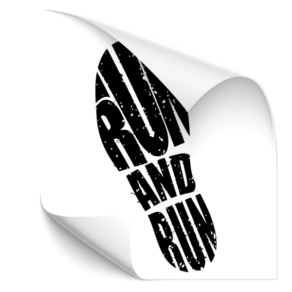 Run and run Fußabdruck - wandtattoo