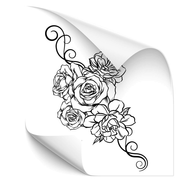 Rosen mit Ornament Fahrzeug Aufkleber - Kategorie Shop
