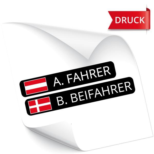 Fahrer Beifahrer Namensaufkleber DRUCK Namensaufkleber mit Flagge - Kategorie Shop