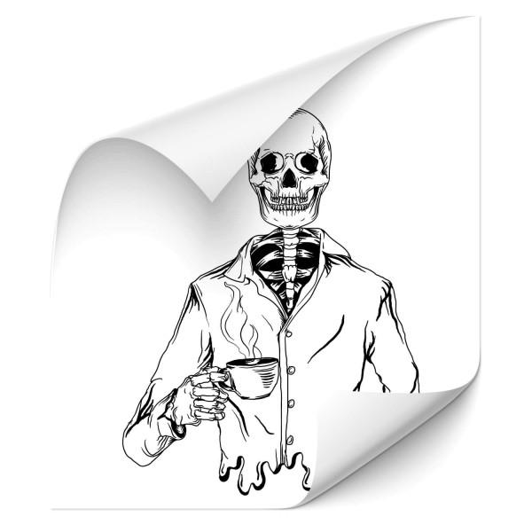 Skelett mit Kaffee Car Sticker - Kategorie Shop