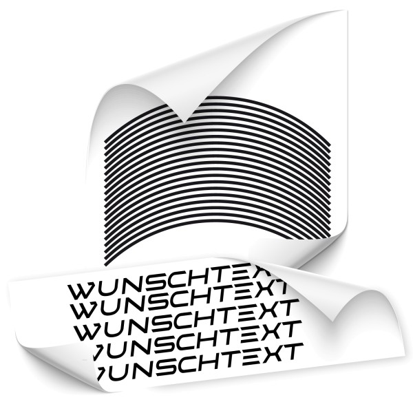 Felgenrandaufkleber mit Wunschtext - Kategorie Shop