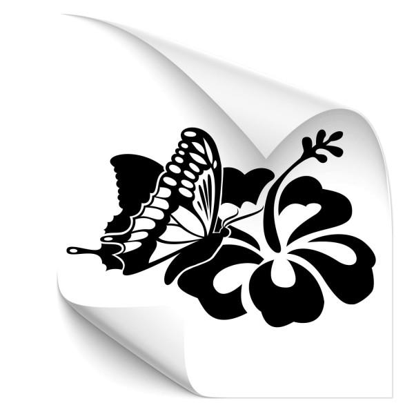 Schmetterling mit Hibiskusblume Autotattoo - Kategorie Shop