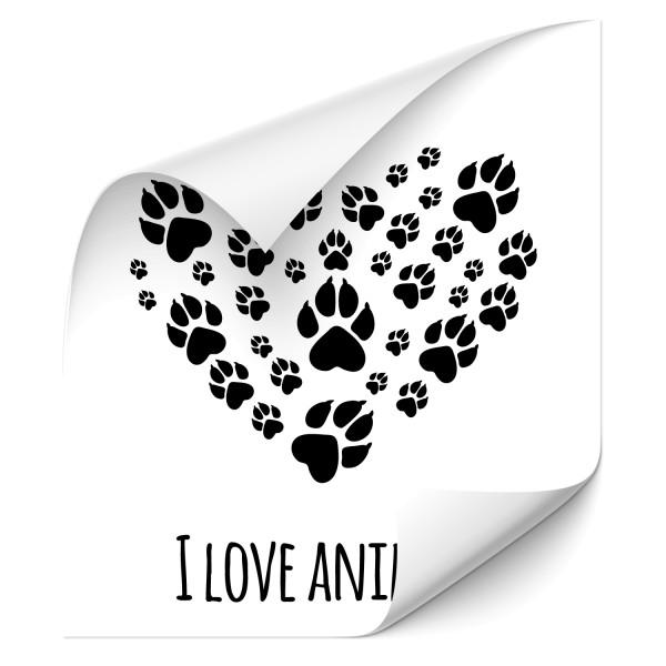 I Love Animals Autotattoo - Pfoten