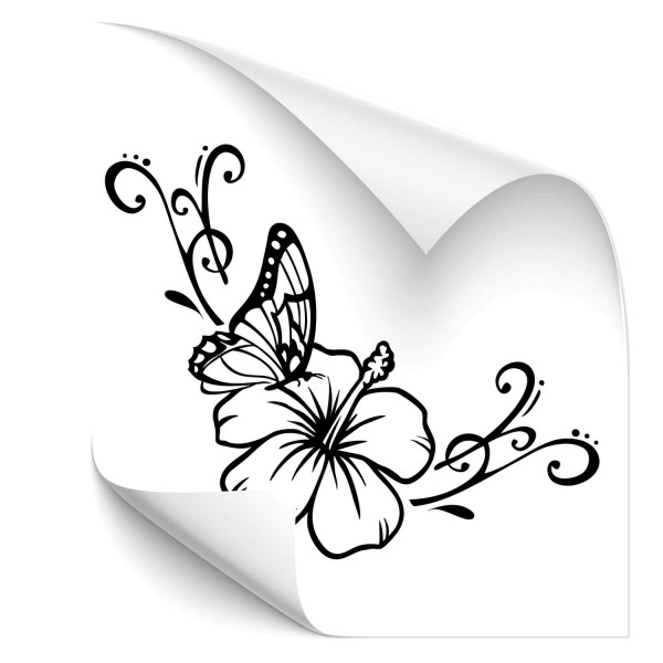 Hibiskusblüte mit Schmetterling Car Tattoo - Kategorie Shop