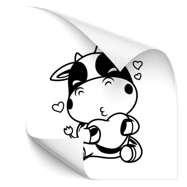 Kuh mit Herz Auto Hecksticker - pferde & co