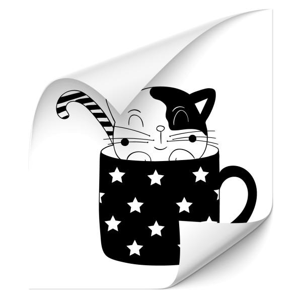 Katze in Tasse Heckaufkleber - katzen & Co