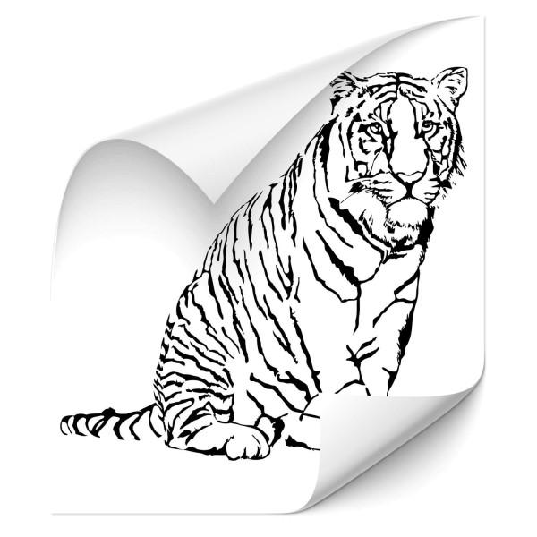 sitzende Tiger Kfz Aufkleber - katzen & Co
