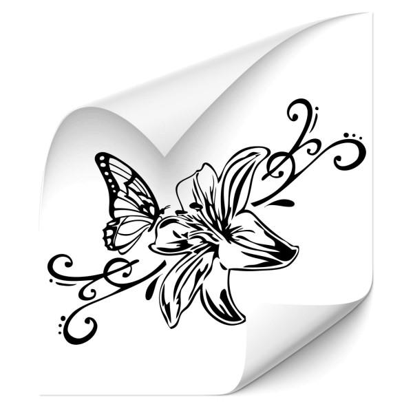 Lilie mit Schmetterling Fahrzeug Motorhaubenaufkleber - Kategorie Shop