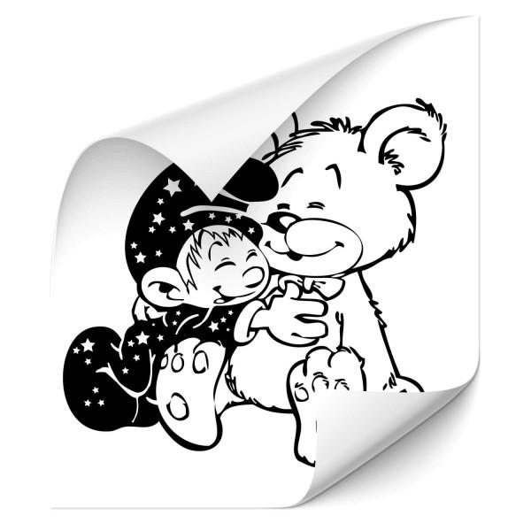 Baby mit Teddy Autoaufkleber - wandtattoo
