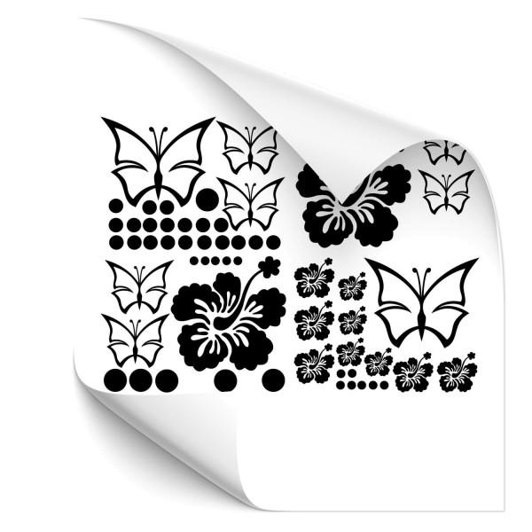 Hibiskus-Schmetterling-Set Fahrzeug Gestaltungs Aufkleber - Kategorie Shop