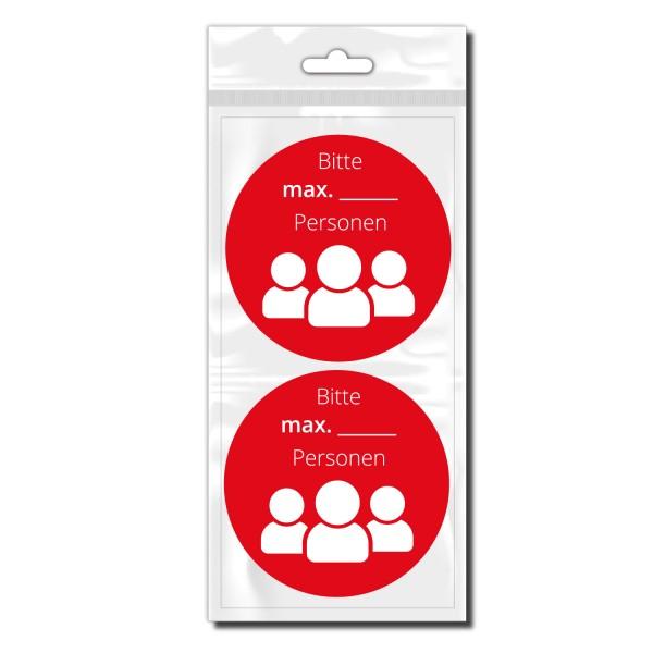 Personenanzahl Hinweis Aufkleber Schaufenster Sticker