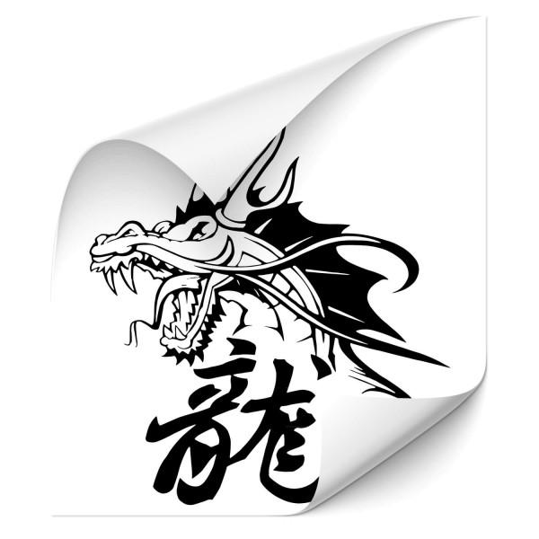 Drache mit chinesischen Schriftzeichen Kfz Sticker - märchen & Fabelwesen