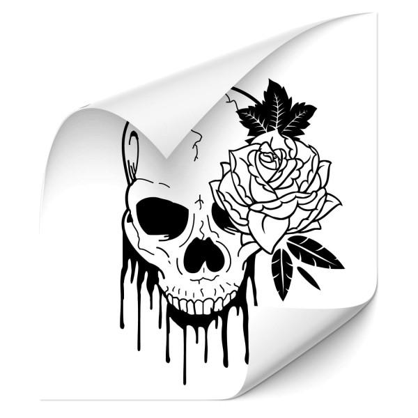 Totenkopf mit Rose Auto Tuning Sticker - Kategorie Shop