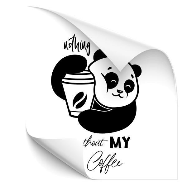 nothing without my coffee - Pandabär Heckaufkleber - sprüche