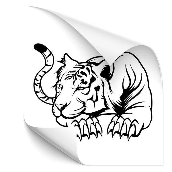 lauernde Tiger Motorhauben Sticker - katzen & Co