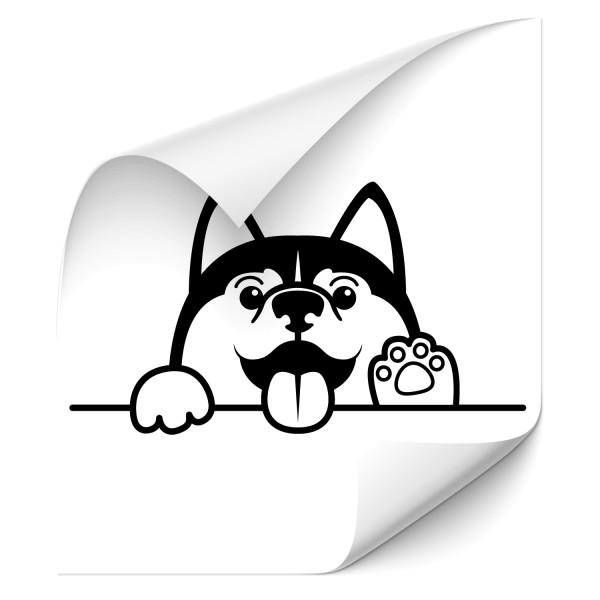 Comic Hund - Husky Auto Folienaufkleber - tiere