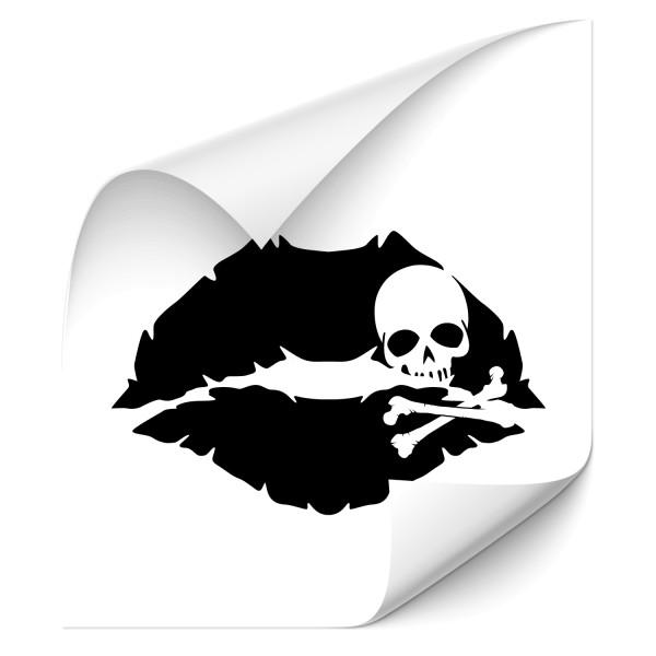 Piraten Kussmund Heckscheiben Tattoo - totenkopf