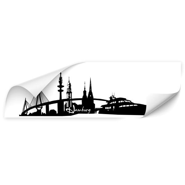 Hamburg Silhouetten Fahrzeug Aufkleber - Skyline