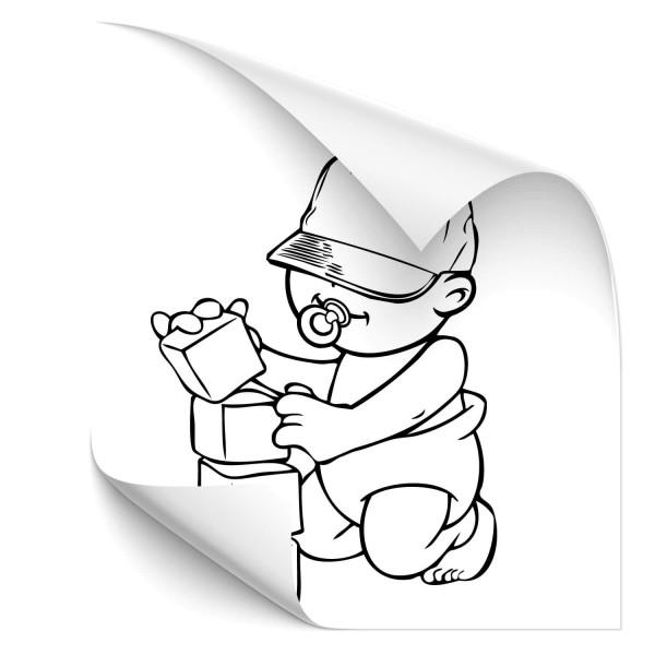 Junge mit Bausteinen Heckscheibenaufkleber - Kategorie Shop